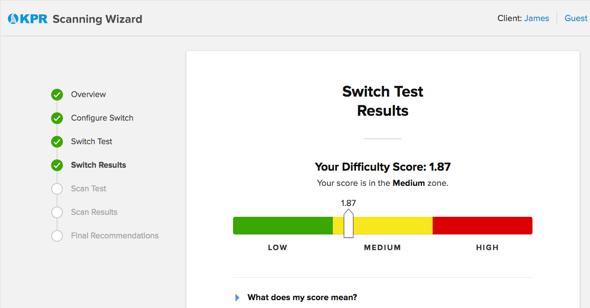 Screenshot of the Switch Test report in Scanning Wizard, showing the overall difficulty score in the yellow (medium) zone.