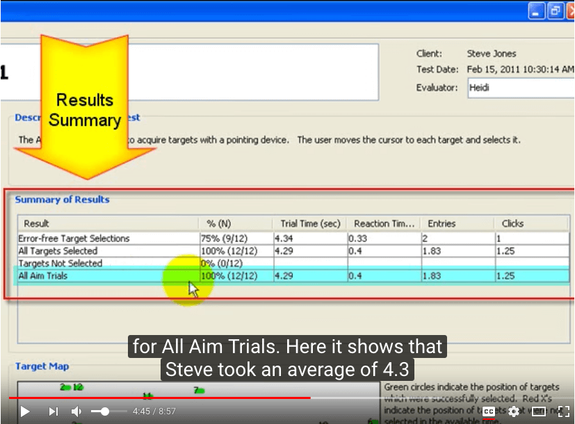 Screenshot of demo video for Compass software, showing use of edited captions.
