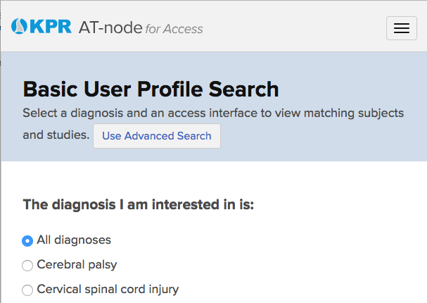 Screenshot of AT-node page in mobile view.  The tribar nav button is in the upper right, with no visible focus style