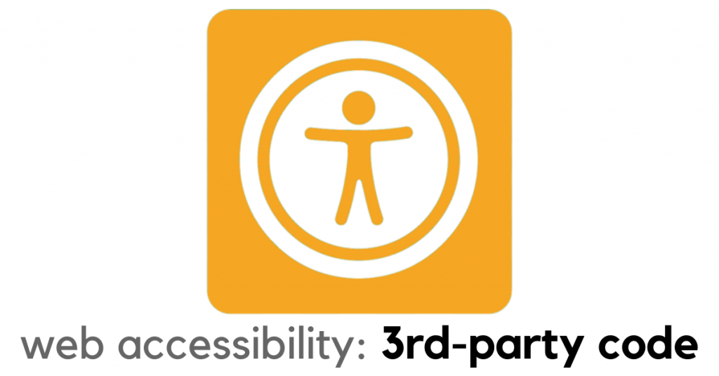 Web accessibility icon with third-party code text underneath