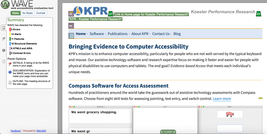 Screenshot showing WAVE accessibility test results for the KPR Home page