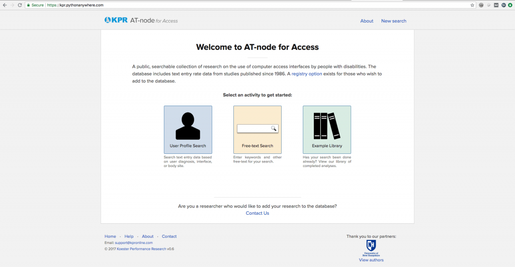 Home page for the A T node application for searching the research on computer text entry by people with disabilities