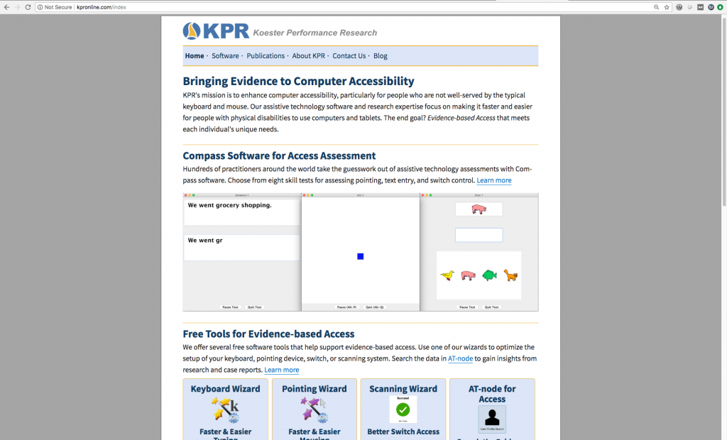 Screenshot of KPR's home page
