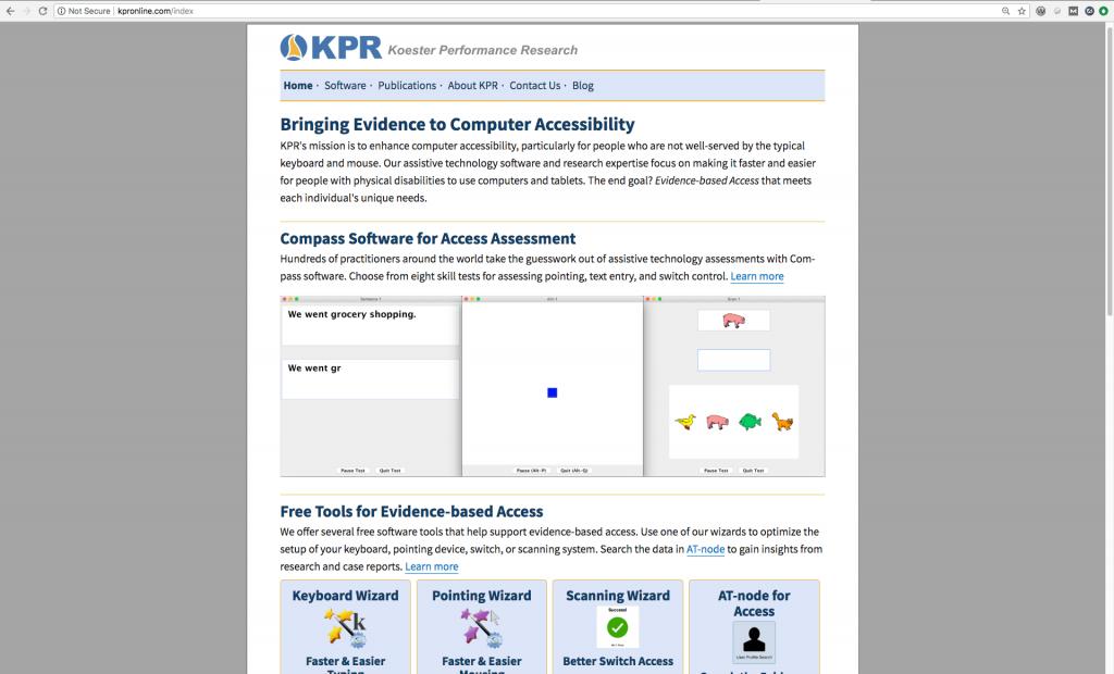 Screenshot of KPR's home page