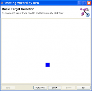 Screenshot from Pointing Wizard, showing a blue target square for the basic selection task