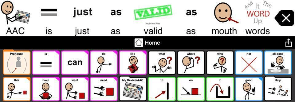 "Image from the Ask Me I'm an AAC User facebook page. It reads: ""AAC is just as valid as mouth words."""