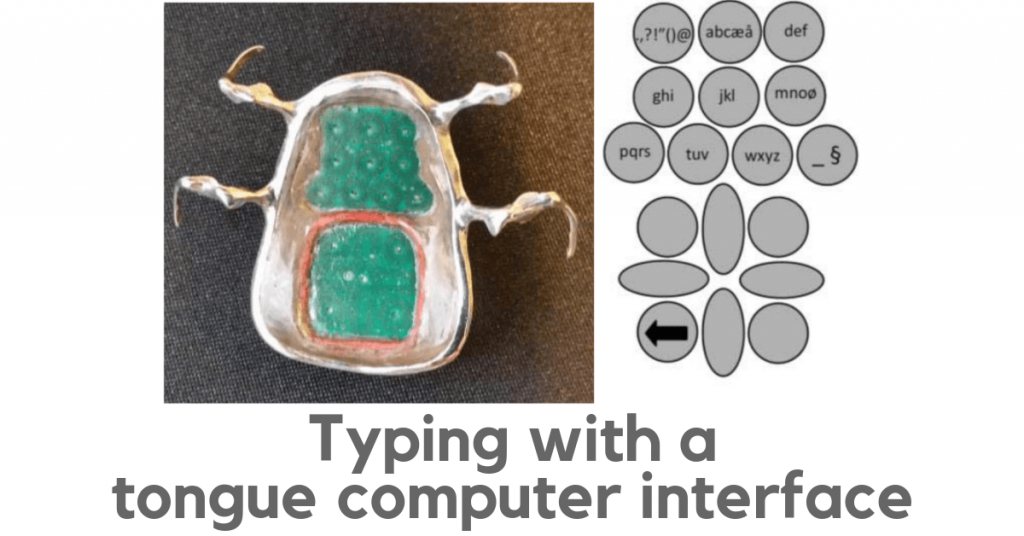 Image shows the 18 sensors embedded into the device, which is worn like an orthodontic retainer. Also shows how letters are assigned to each sensor to allow for typing with the tongue.