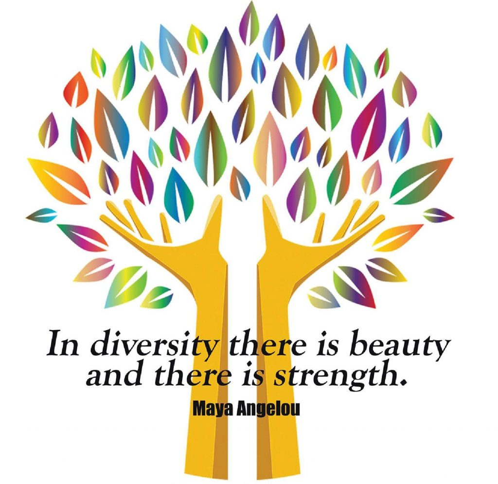 A drawing of a tree with a quotation by Maya Angelou: In diversity there is beauty, and there is strength.