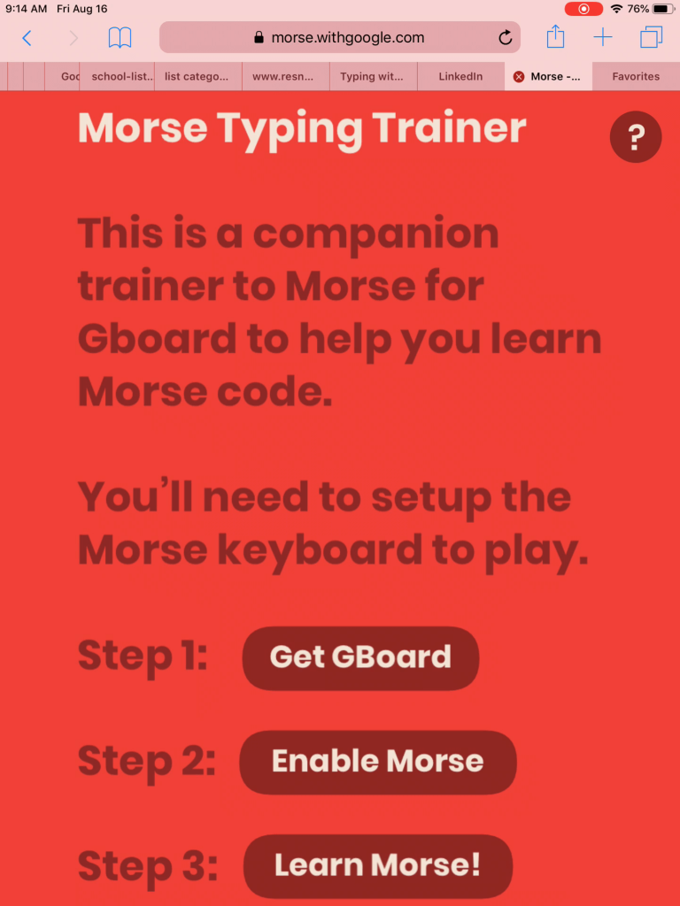Home page for the Morse Typing Trainer, including instructions and a button to start the trainer.