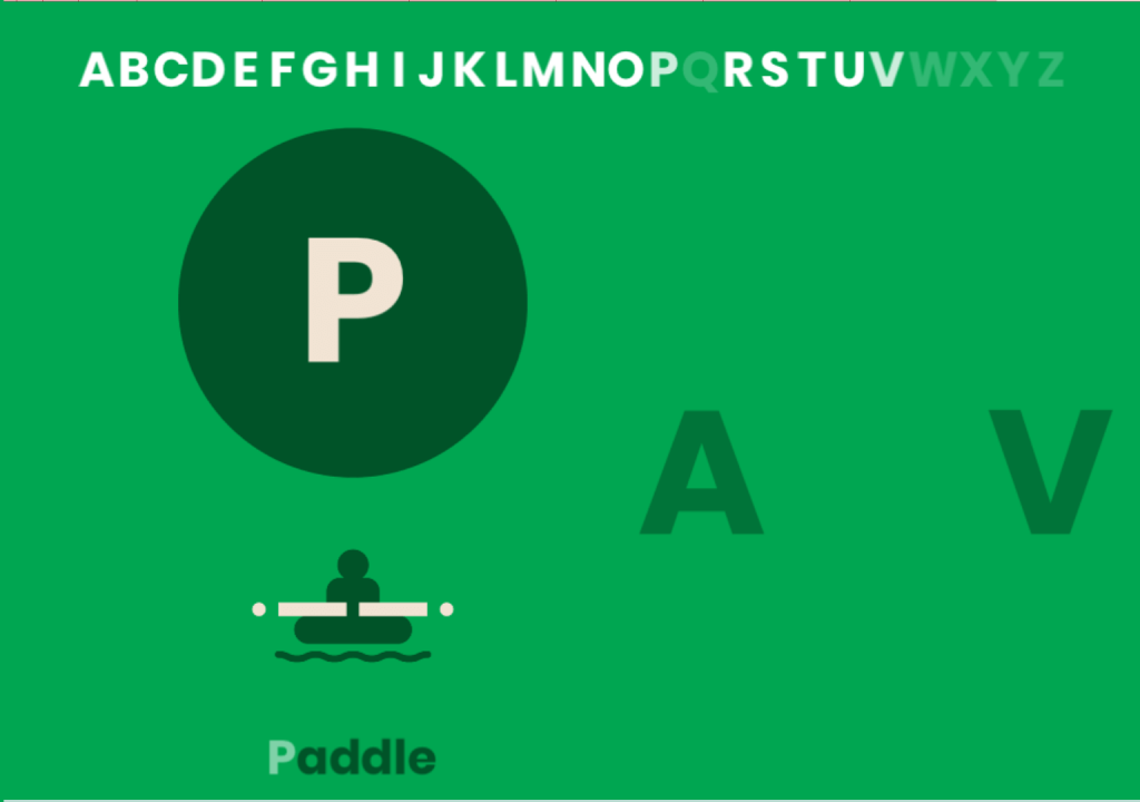 Code cue for the letter P, in the Morse Typing Trainer. The mnemonic word is Paddle, and a graphic shows the dot-dash-dash-dot sequence as kayakers paddle.