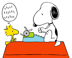 Cartoon of Snoopy using a typewriter to write a letter dictated by Woodstock