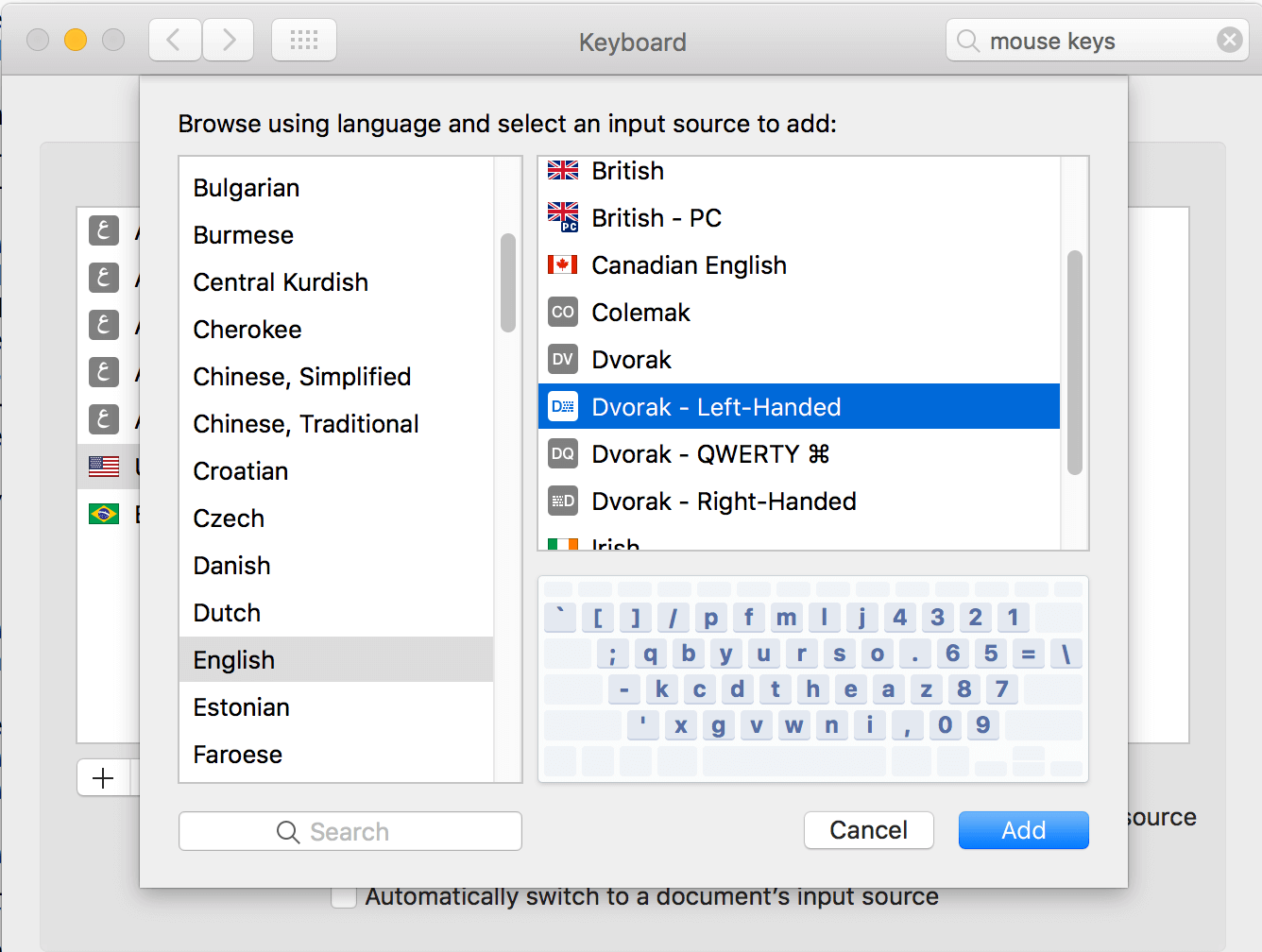 Keyboard Preferences dialog in Mac OS X, showing how to set the keyboard layout to left-hand Dvorak