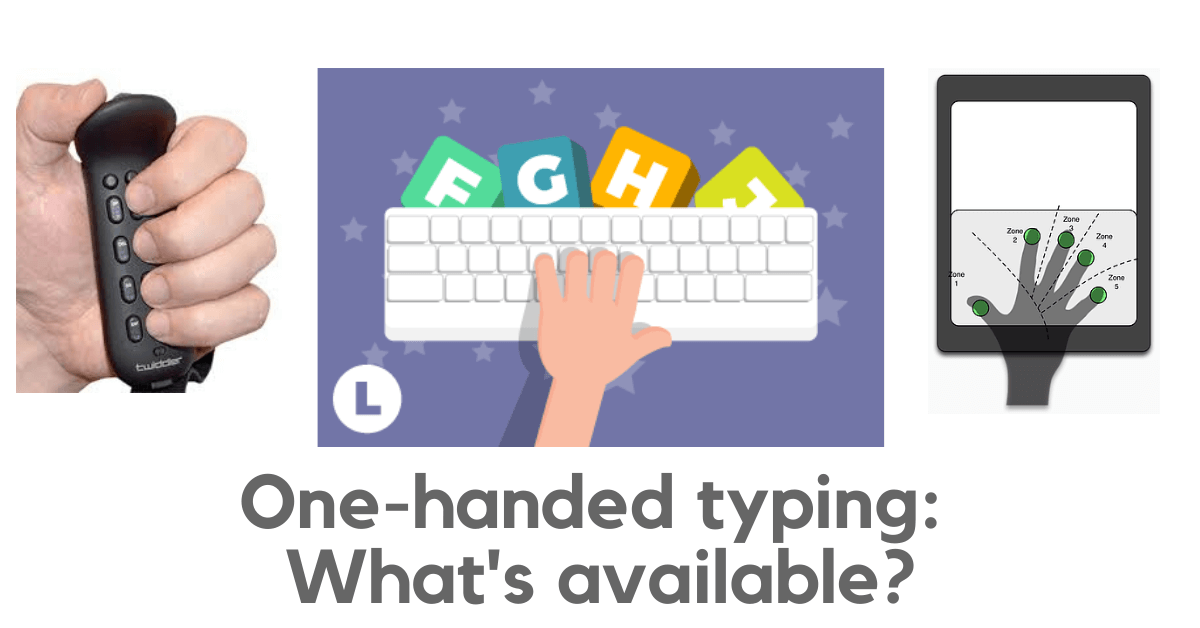 One-handed typing: What's available? Pictures show 3 example options -- one-hand touch typing, tapping codes on touchscreen, and a chorded keyboard in the palm
