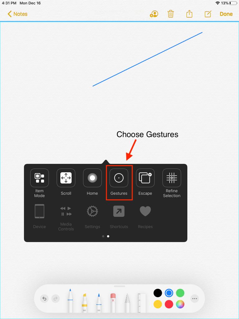 Scanner Menu showing Gestures item