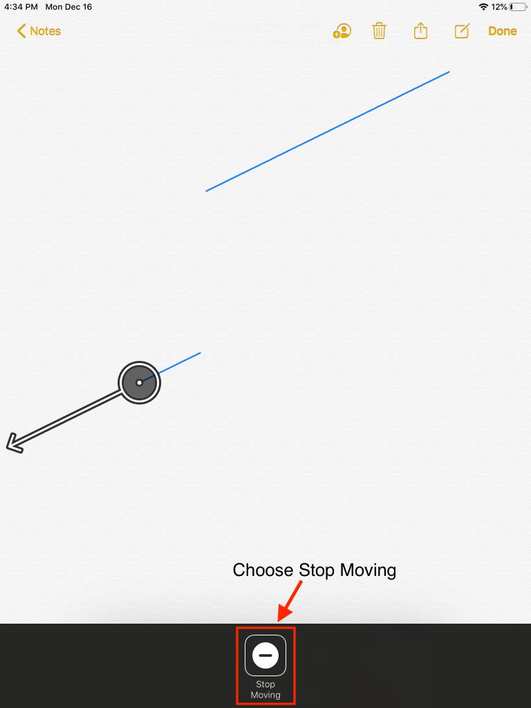 Scanner Menu showing Stop Moving item