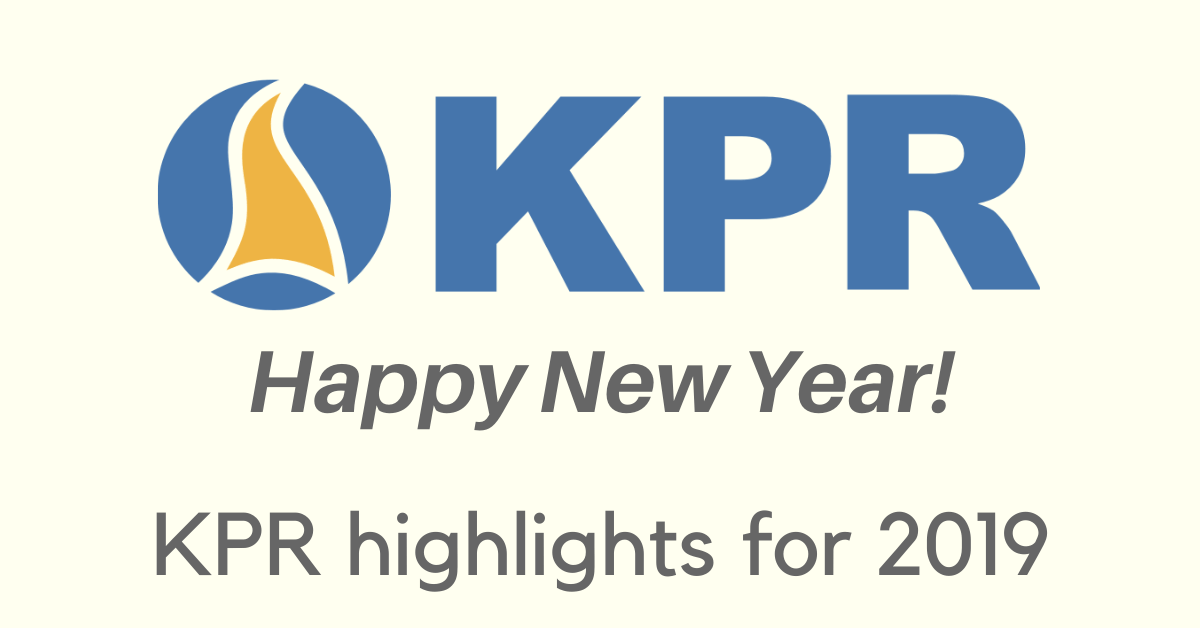 Banner showing KPR logo, a Happy New Year message, and the title of KPR highlights for 2019