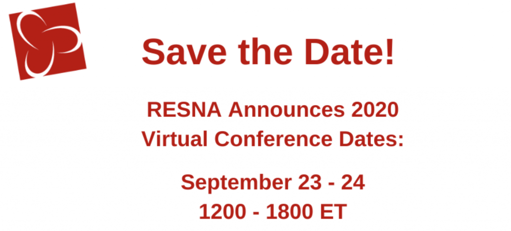 RESNA virtual conference dates are September 23-24, 2020