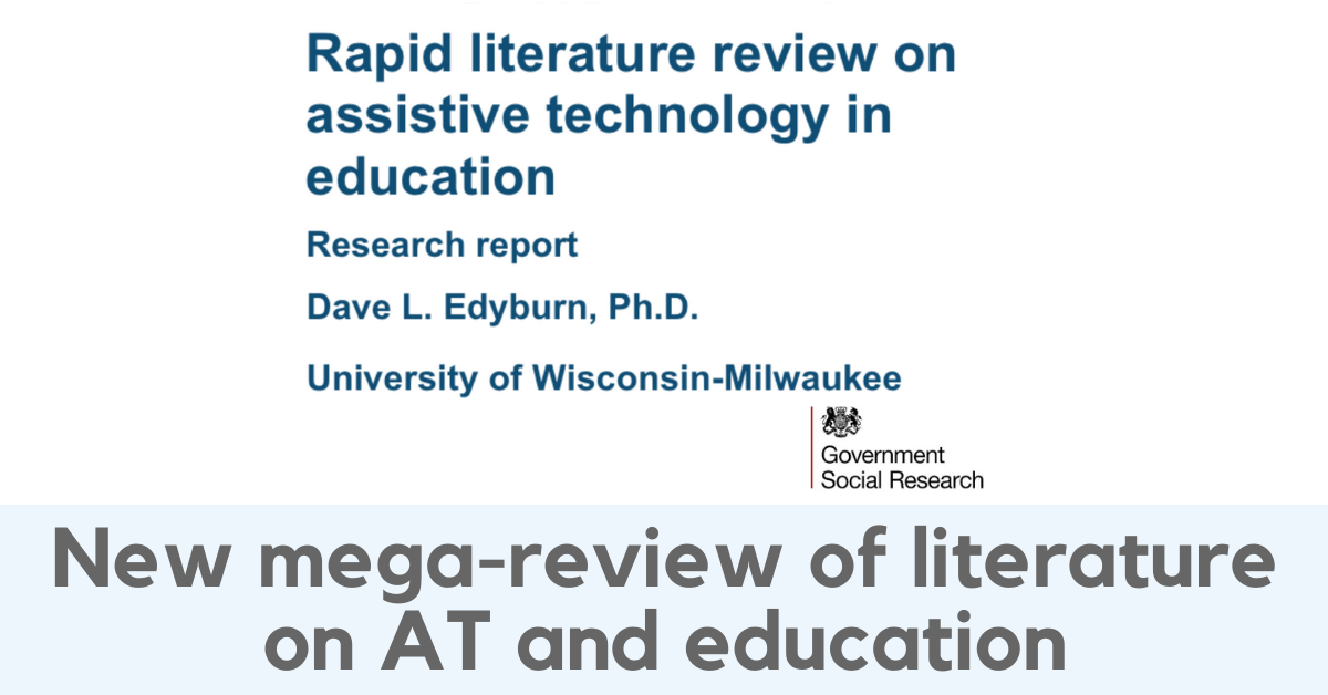 New mega-review of literature on AT and education