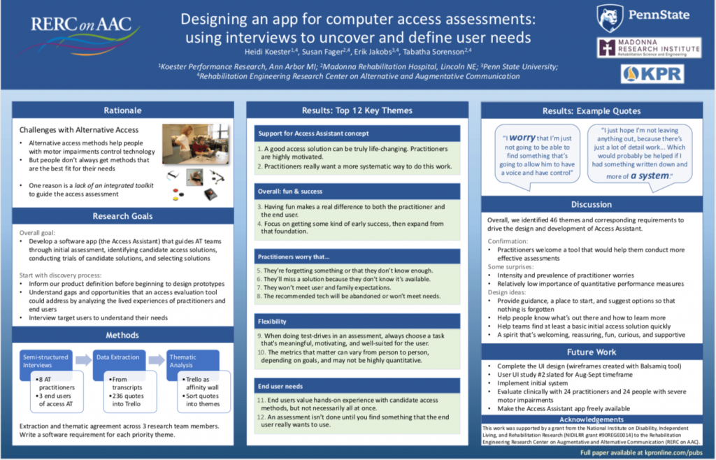 Thumbnail of the poster on the Access Assistant project for RESNA 2021 Conference