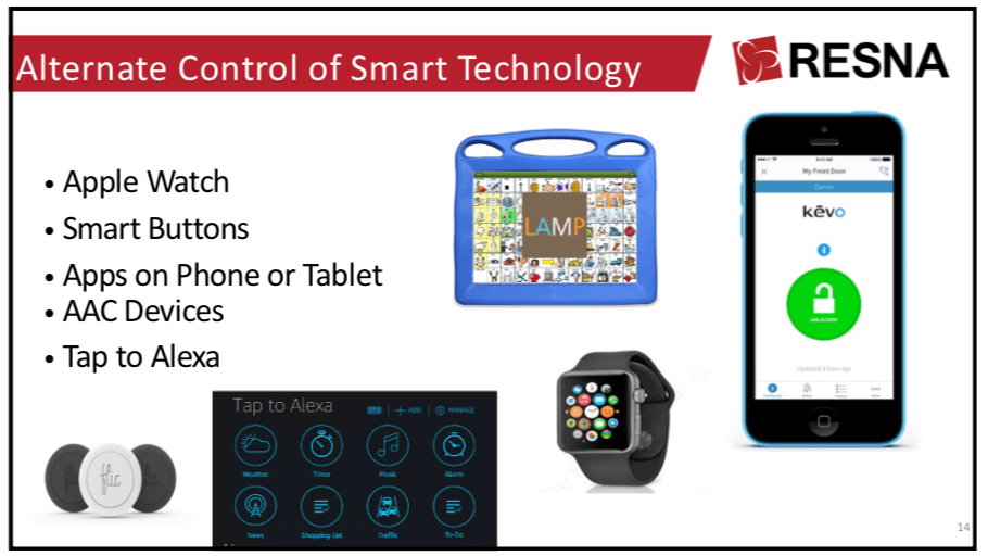 Alternate Control of Smart Technology, including Apple watch, smart buttons, apps on phone or tablet, AAC devices, and Tap to Alexa