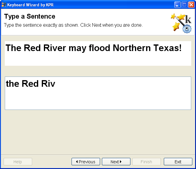 screenshot for Keyboard Wizard software, showing a sentence to be typed