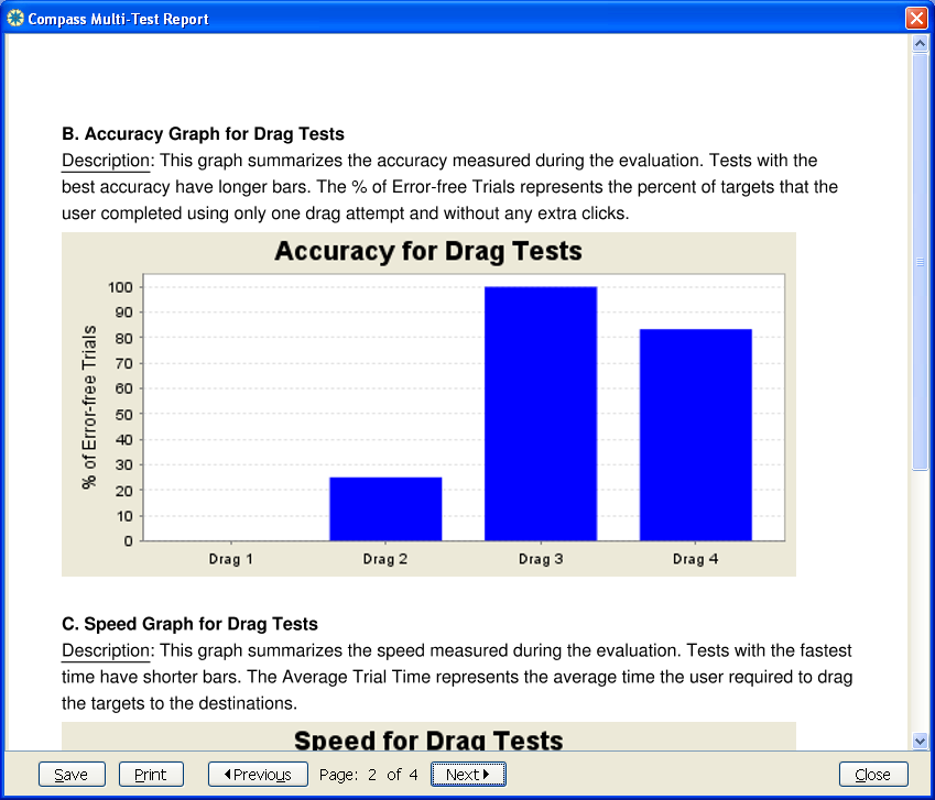 Screenshot from a Compass report, showing the ability to compare performance across multiple tests