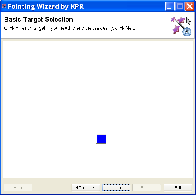 screenshot for Pointing Wizard software, showing a square target to be selected