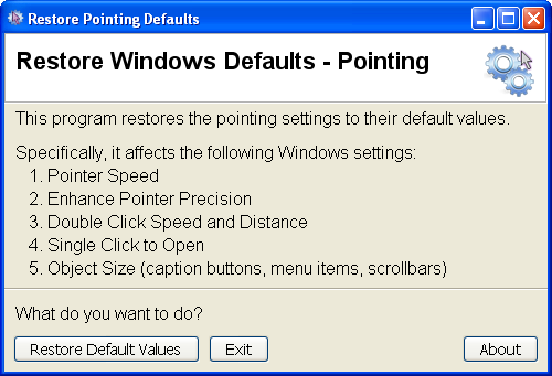 screenshot for Restore Defaults utility